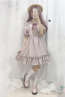 Original New Retro Lace Lantern Short Sleeve Lavender Sweet Lolita Dress