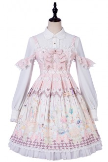 "Original New ""Dream Tea Party"" Chiffon Sleeveless Pink Sweet Lolita JSK Dress"