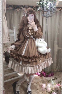 "Original New Retro long-Sleeved ""Teddy Bear""  Autumn And Winter Sweet Lolita Dress 2 Colors"