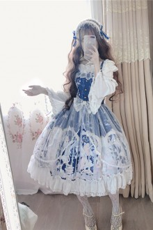 "Original ""Snow Angel"" Lace Blue Sweet Lolita Dress"
