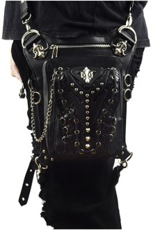 Steam Punk Rivet Chain Black Multi-function Outdoors Men's Inclined Shoulder Bag