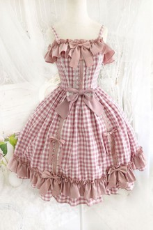 Original New Pink Bow Ruffled High Waist Sweet Lolita Dress