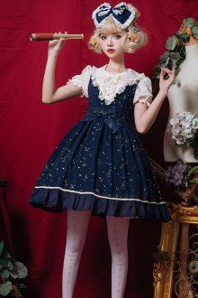 Original Design Fake Two Short Dark Blue Sweet Lolita Dress