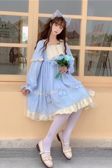 Original 2020 New Mesh Long Sleeve Sweet Lolita Dress 2 Colors