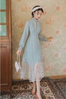 Original New Temperament Long Sleeve Light Blue Sweet Lolita Dress