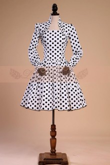 Original New Retro Black and White Polka Dot Long Sleeve Waist Sweet Lolita Dress