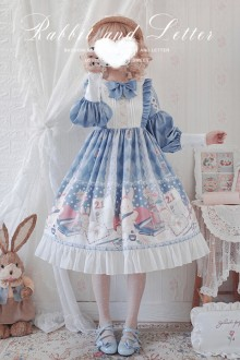 "Original Design ""Donnie Rabbit"" Light Blue Sweet Lolita OP Dress"