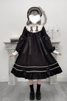 "Original Design ""Cradle Doll"" Black Daily Long Sleeve Sweet Lolita OP Dress"