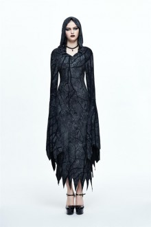Bat Sleeve Split <Forest Divine Witch> Irregular Hooded Gothic Lolita Dress