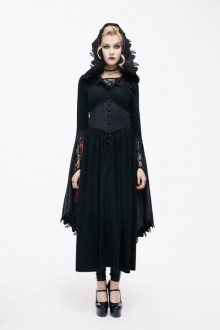 Flared Sleeve Lace Panel Red Hat Witch Gothic Lolita Dress