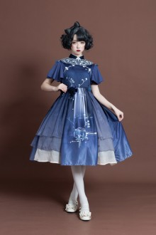 "Original ""Moon in the Mirror"" Elegant Retro Sweet Lolita OP Dress 2 Colors"