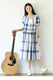 Original Design Summer Loose Round Neck Short Sleeve Blue And White Plaid Sweet Lolita Dress