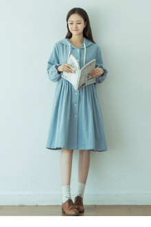 Original New Retro Loose Hooded Long Light Blue Sweet Lolita Dress