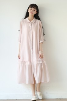 Original New Literary Pink Loose Seven-Point Sleeve Sweet Lolita Dress