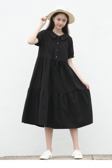 Original Design Doll Collar Loose Black Short Sleeve Sweet Lolita Dress