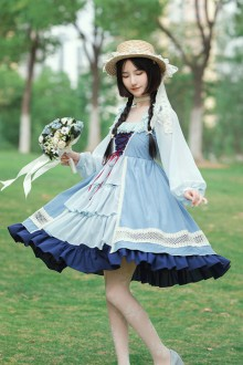 Original Design long Sleeve Light Blue Sweet Lolita OP Dress