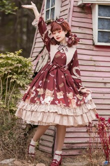 "Original Design ""Sweetheart Tea Party"" Long-Sleeved Sweet Lolita OP Dress"