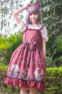 "Original New ""The Moon Altar"" Red Wine Retro Sweet Lolita JSK Dress"