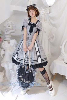 "Original ""Ink Pen"" Short-Sleeved College Style Sweet Lolita Dress"