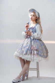 Original Design Printed Sea Mallow Classic Lolita JSK Dress