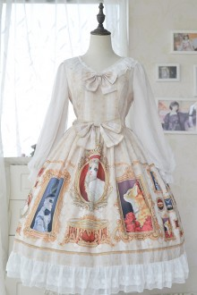 "Original design 2020 new ""cat oil painting"" sweet Lolita OP dress 3 colors"