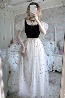 Original New French Retro Chiffon Polka Dot Sweet Lolita Dress