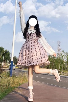 "Original Design ""Donut Cat"" Light Purple Sleeveless Sweet Lolita Dress"