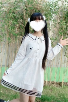 Original Japanese Navy Style Doll Collar Organza White Sweet Lolita Dress