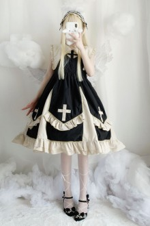 "Original Genuine ""Cool Black Angel Cross"" Classic Lolita Dress"