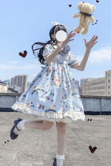 "Original Genuine ""Moon Island"" Short Sleeve Sweet Lolita OP Dress 2 Colors"