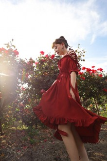 "Original Design ""Blood Dyed Rose"" Word Collar Red Classic Lolita Dress"