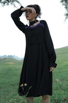 "Original ""Sleeping Natalie"" Black Temperament Waist Classic Lolita Dress"