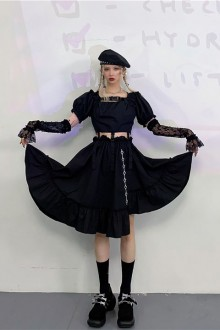 Original Retro Detachable Buckle Dark Gothic Lolita Dress