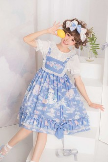 "Original ""Cat Dreamland"" Blue Sweet Lolita JSK Dress"