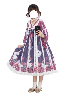 "Original Japanese ""Origami"" Purple Sweet Lolita OP Dress"