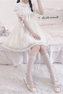 Original Waist Was Thin White Sweet Lolita OP Dress