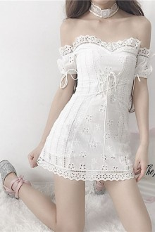Original French Girl Embroidery White Sweet Lolita Dress