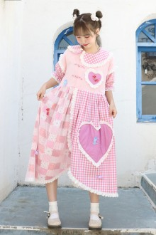 Original Stitching Short Sleeve Girl Cute Sweet Lolita Dress 2 Colors