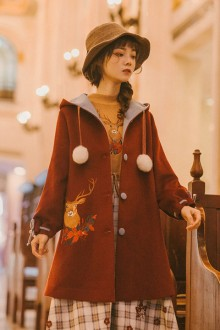 "Original ""Maria's Song"" Red Hooded Embroidered Christmas Sweet Lolita Coat"