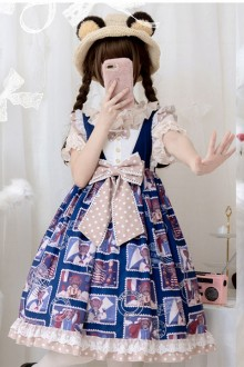 "Original ""Stamp Bear"" Blue Sweet Lolita JSK Dress"
