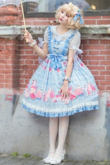 "Original ""Frozen"" Refreshing Light Blue Sweet Lolita JSK Dress"