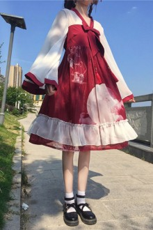 "Original Plus Size ""Puffet Skirt"" Wine Red Sweet Lolita Dress"