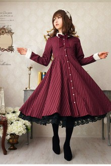 Original 2020 New Wine Striped Classic Lolita Dress