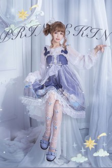 "Original Design ""Little Prince"" Printed Chiffon Blue Sweet Lolita JSK Dress"