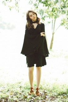 Original New Retro Flared Sleeve Black Classic Lolita Dress