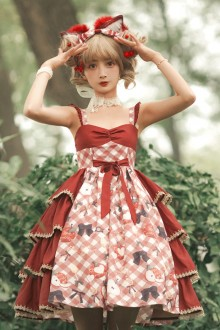 "Original ""Apple Romance"" Wine Red Sweet Lolita JSK Dress"