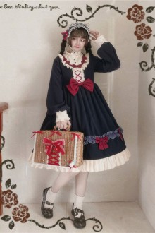 "Original Design ""Jenny Sweetheart"" Navy Blue Sweet Lolita OP Dress"