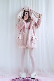 "Original Design Keep Warm In Autumn And Winter ""Meng Meng Rabbit"" Pink Sweet Lolita Jackets"