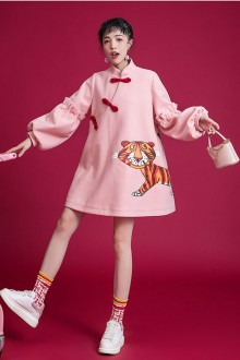 "Original Design 2020 New ""Tiger"" Cartoon Print Lantern Sleeve Pink Sweet Lolita Dress"