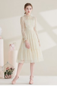 Original Design French Long Sleeve Lace Apricot Sweet Lolita Dress